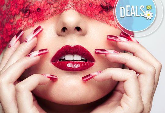 Бъдете зашеметяващи! Ноктопластика с удължители и гел, с бонус лакиране с геллак Gelish/SNB и 4 декорации в салон Емоция - Снимка 3