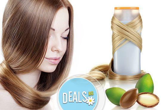 Освежете увредената и суха коса! Масажно измиване с арганов шампоан и маска на Christian of Roma в Avior beauty center - Снимка 1