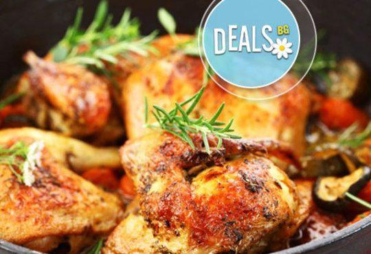 ДВА килограма пилешки сач (за четирима) с ароматни билки и канапе от пърленки от Кулинарна къща Ники - Снимка 1