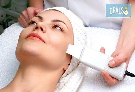 Ултразвукова шпатула за почистване на лице, нанотехнология чрез Ultrasonic Scrub, ION, LED технология от Енигма! - Снимка 1