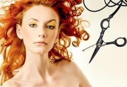 Подстригване с гореща ножица и подсушаване в салон Flowers