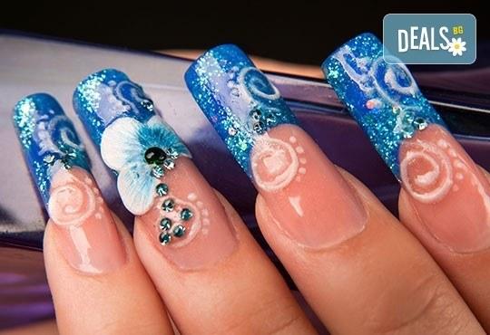 Красиви нокти! Ноктопластика с изграждане с гел + четири авторски декорации в Салон за красота Belisimas, жк Тракия - Снимка 3
