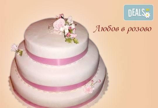 Голяма сватбена торта 60, 80 или 100 парчета с ръчно изработена декорация от Сладкарница Джорджо Джани - Снимка 4