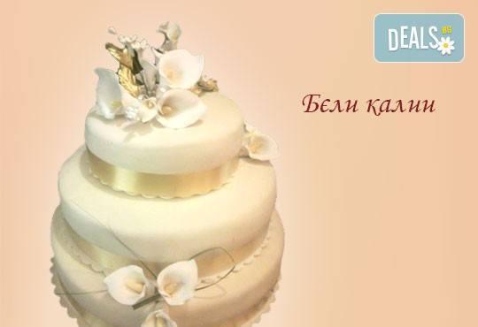Голяма сватбена торта 60, 80 или 100 парчета с ръчно изработена декорация от Сладкарница Джорджо Джани - Снимка 7