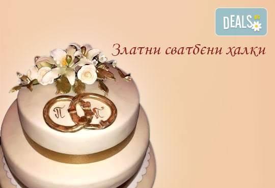 Голяма сватбена торта 60, 80 или 100 парчета с ръчно изработена декорация от Сладкарница Джорджо Джани - Снимка 1