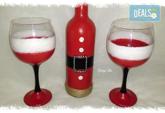 Оригинален подарък за Коледа:ръчно декорирани бутилка вино и 2бр рисувани чаши - в комплект или поотделно от Арт Магазин - Снимка 3