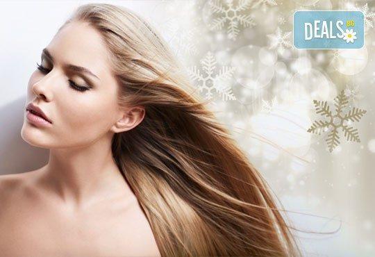 Зимна терапия за здрава коса! Измиване с шампоан и маска против косопад, оформяне със сешоар в студио Авангард - Снимка 1