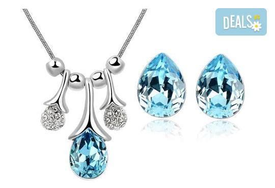 Идеалният подарък за празниците! Колие и обеци ''Морска лагуна'' с австрийски кристали от Модни аксесоари! - Снимка 1
