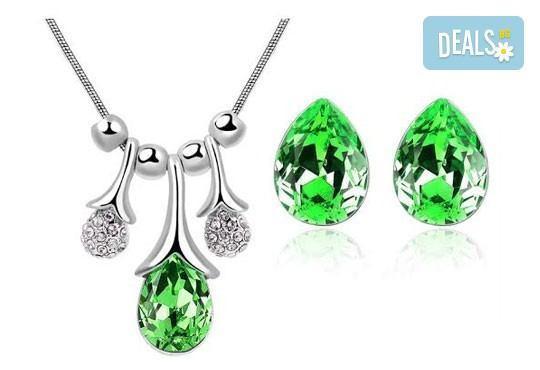 Идеалният подарък за празниците! Колие и обеци ''Морска лагуна'' с австрийски кристали от Модни аксесоари! - Снимка 5