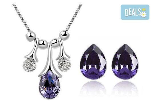 Идеалният подарък за празниците! Колие и обеци ''Морска лагуна'' с австрийски кристали от Модни аксесоари! - Снимка 6