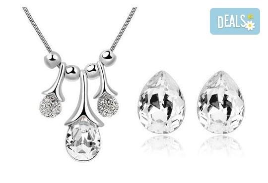 Идеалният подарък за празниците! Колие и обеци ''Морска лагуна'' с австрийски кристали от Модни аксесоари! - Снимка 4
