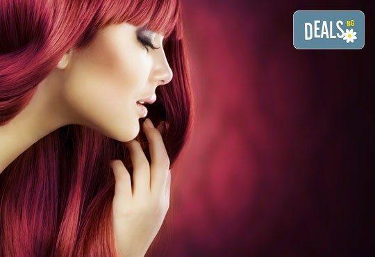 Боядисване с L'Oréal Matrix, подстригване, терапия според типа коса с инфраред преса и оформяне със сешоар в салон Мелинда! - Снимка 1