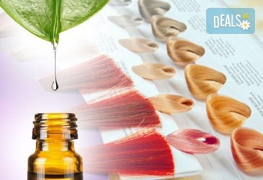 Боядисване с боя VITALITY'S ART ABSOLUT с есенциални масла, масажно измиване, маска и оформяне на прическа в салон Идиан! - Снимка 2