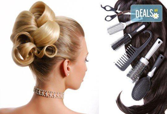 Стилна до последния детайл! Празнична прическа, подстригване по избор, оформяне със сешоар от Beauty hall Molly - Снимка 1