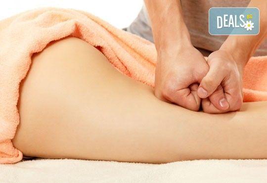Пет процедури антицелулитен масаж на бедра и седалище с масла и гелове с кофеин и L-carnitine, салон за красота АБ - Снимка 2