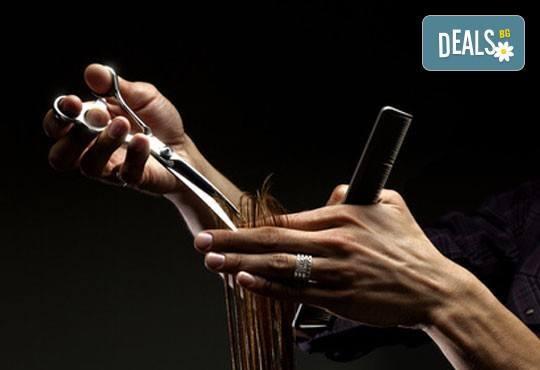 Подстригване, подхранваща маска и оформяне със сешоар или терапия с ампула, масажно измиване и сешоар в салон Виктория! - Снимка 2