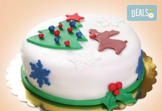Празници с Muffin House! Дизайнерска торта за Нова година с къщичка или елхичка, домашно приготвени шоколадови блатове - Снимка 1