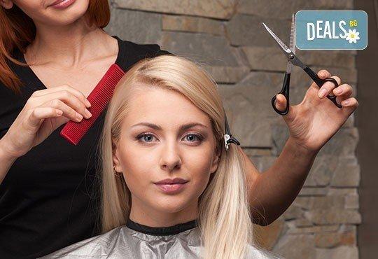 Бъдете стилни! Масажно измиване, постригване, оформяне със сешоар и подарък: оформяне на плитка в салон Angelica Beauty! - Снимка 1
