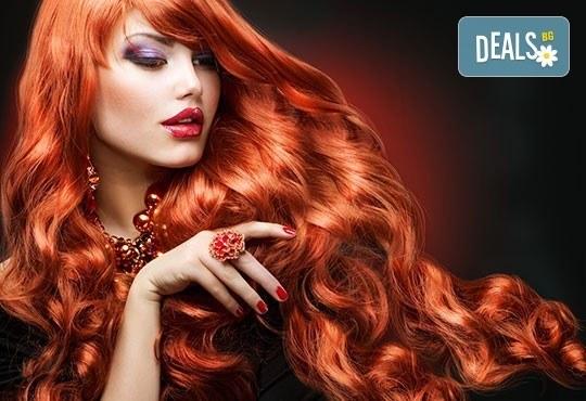 Боядисване с боя на клиента, подстригване и оформяне на прическа със сешоар в салон за красота Елеганс в Мусагеница! - Снимка 3