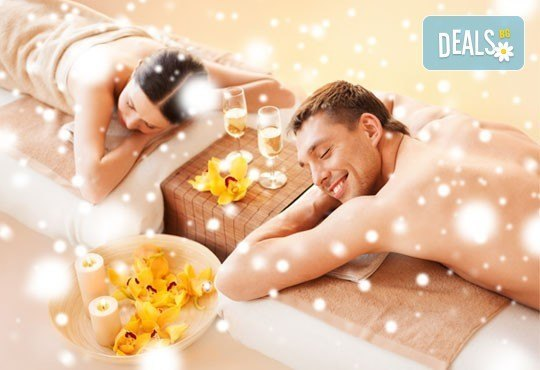 Релакс за двама! Двоен синхронен масаж 60 мин. с етерични масла от макадамия, ирис и жасмин в Medina SPA & Wellness - Снимка 1
