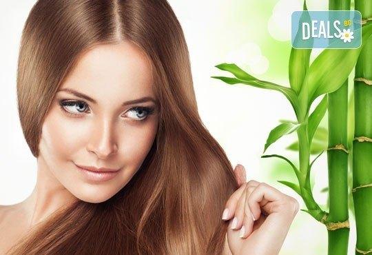 Бамбукова терапия за коса с инфраред преса и ултразвук, масажно измиване и прав сешоар от N&S Fashion зелен салон - Снимка 1