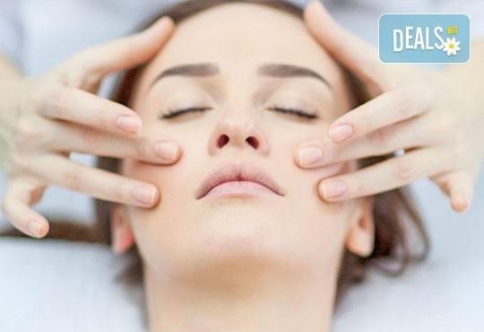 Кадифено гладка кожа! Лечебен масаж на лице и дарсонвал или йонофореза по избор от студио за красота Five! - Снимка 1