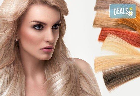 Двуцветни кичури, подхранваща ампула за боядисана коса и оформяне на прическа със сешоар в салон Женско царство! - Снимка 2