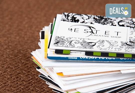 1 000 пълноцветни визитки с или без индивидуално гравирани кожен визитник или 10 бр. химикали, рекламна агенция ГДМ АРТ - Снимка 3