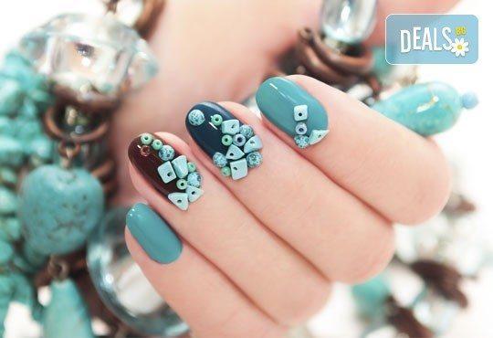Красиви и нежни ръце! Класически маникюр с гел лак Bluesky и декориране с изящни камъчета в студио Beauty & Prana! - Снимка 1