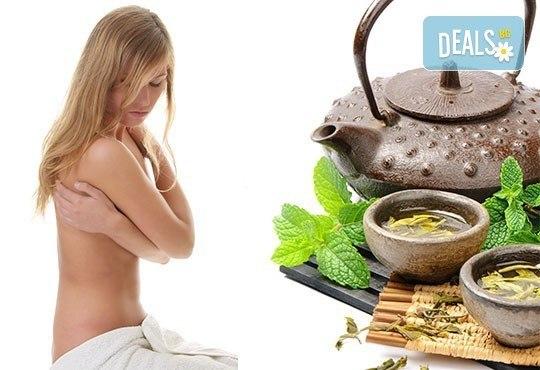 За нови сили и настроение! 60-минутен енергизиращ масаж с мента и зелен чай на цяло тяло и масаж на лице в студио Giro! - Снимка 3