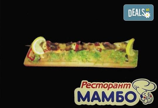Богато меню за двама! Кръчмарска сабя с пилешко, свинско и телешко контра филе, 2 бири и картофки в Ресторант-механа Мамбо! - Снимка 2