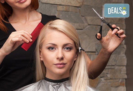 Боядисване с боя Fadiam на цяла коса или корени, масажно измиване, маска, подстригване и оформяне със сешоар в салон Soleil! - Снимка 2