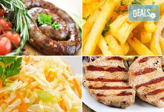 Апетитно в Balito! Две порции пресен телешки суджук на скара или свински каренца + гарнитура картофки и зеле с моркови - Снимка 1