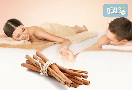 Ароматен релакс масаж на гръб с канела за ДВАМА плюс Hot stones и масаж на лице в SPA ''Senses Massage & Recreation'' - Снимка 1