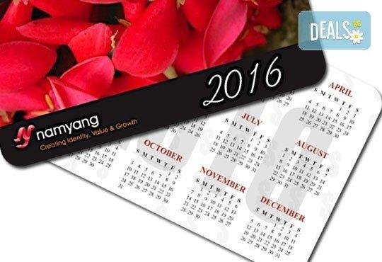 Ексклузивно от Офис 2! 100 броя джобни календарчета за 2016-та година, ламинат мат/ гланц, заоблени ъгли, с Ваша снимка - Снимка 1