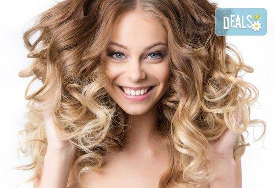 Измиване и боядисване тип Омбре специално за небоядисани коси и оформяне с прав сешоар от салон за красота Soleil! - Снимка 1