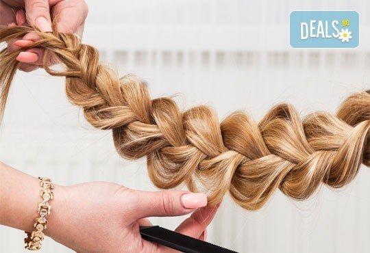 Прическа с 2, 3 плитки, рибена кост на измита коса или в комбинация с масажно измиване и сешоар от салон за красота Soleil! - Снимка 1