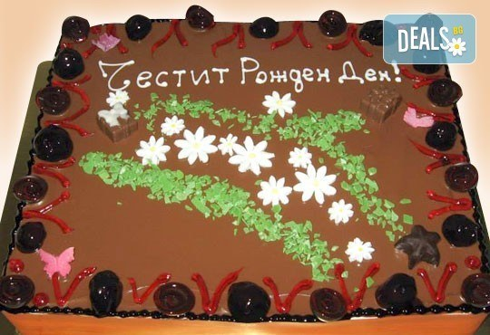 Голяма правоъгълна торта - шоколадова Кали с трюфели и цели ядки или Шоколадова с ягоди и коктейлни череши - 20 парчета от Сладкарница Орхидея - Снимка 3
