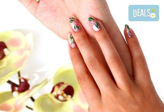Цветни нокти! Арт маникюр с арома продукти, лак SNB и 2 рисувани декорации от Point nails! - Снимка 1