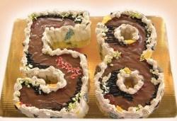 Шоколадови празници с торта Шоколадови цифри и букви от Сладкарница Орхидея - Снимка