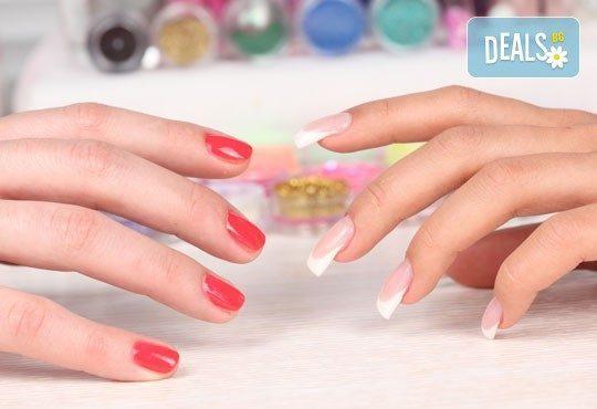 Нежни ръце и красиви нокти! Френски или класически маникюр или педикюр с гел лак Astonishing nails от дерматокозметични центрове Енигма! - Снимка 1