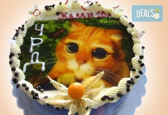 Нов обект на Сладкарница Орхидея! Кръгла детска торта 10 парчета с фотоснимка с любим герой или снимка по избор! - Снимка 7