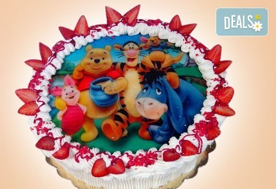 Нов обект на Сладкарница Орхидея! Кръгла детска торта 10 парчета с фотоснимка с любим герой или снимка по избор! - Снимка 3