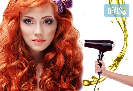 Боядисване на коса с боя на клиента, арганова терапия и сешоар със или без подстригване в салон за красота Нелс! - Снимка 1