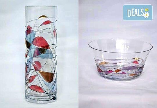 Стилни акценти! Висококачествена ваза или фруктиера от бариев кристал, ръчна изработка от Present For You! - Снимка 2