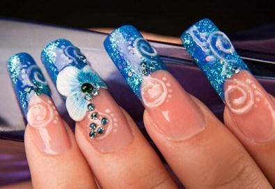 Красиви нокти! Ноктопластика с изграждане с гел + четири авторски декорации в Салон за красота Belisimas, жк Тракия