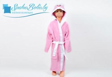 Подарете на Вашето дете нежно докосване и страхотна външност със забавен детски халат, 100% памук от SPALNOBELIO.BG! - Снимка
