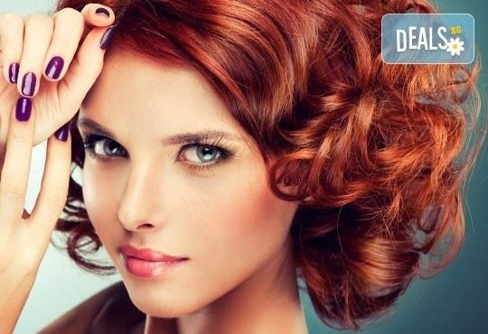 Нова прическа! Боядисване с боя на клиента, подстригване, кератинова терапия и прическа със сешоар в салон Diva! - Снимка 1