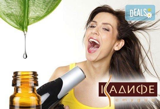Нежна грижа за здрава и красива коса! Измиване, ампула според нуждите на косата и изсушаване със сешоар от СПА студио Кадифе! - Снимка 1