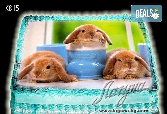 Великденска еклерова торта с пухкави пандишпанови блатове и пълнеж по избор за Вашата цветна празнична трапеза от Виенски салон Лагуна! Предплатете сега - Снимка 2